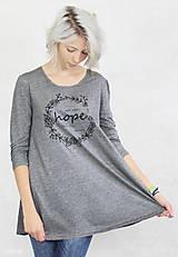 Tričká - Dámske tričko sivé BAMBUS 01 potlač HOPE - 7834774_