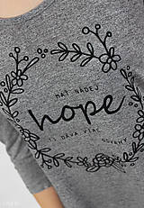 Tričká - Dámske tričko sivé BAMBUS 01 potlač HOPE - 7834775_