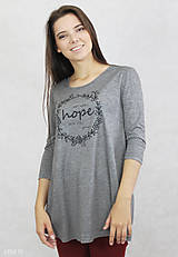 Tričká - Dámske tričko sivé BAMBUS 01 potlač HOPE - 7834777_