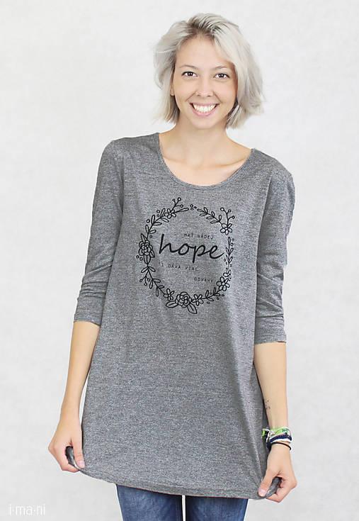 Dámske tričko sivé BAMBUS 01 potlač HOPE