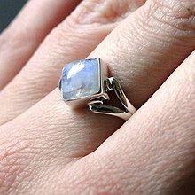 Prstene - Square Moonstone & Silver Ag 925 Ring / Strieborný prsteň s mesačným kameňom - 7837982_