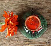 Nádoby - keramická šáločka na kávičku nádherná smaragdovo-oranžová - 7839353_