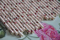 Nezaradené - papierova slamka kvety ruzovo cervene - 7842268_