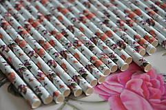 Dekorácie - papierova slamka kvetovana modro cervena - 7842281_