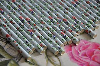 Papier - papierova slamka kvetovana cerveno modra - 7842256_