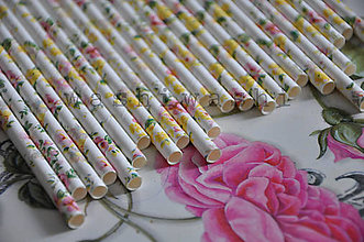 Iný materiál - papierova slamka kvety zlte - 7842302_