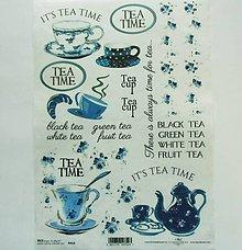 Papier - Ryžový papier na decoupage - A4 - R413 - tea time, čaj, šálka - 7841982_