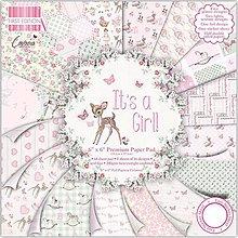 Papier - Sada pevných papierov + nálepky 15,2x15,2cm  It's a girl , 65ks - 7842365_