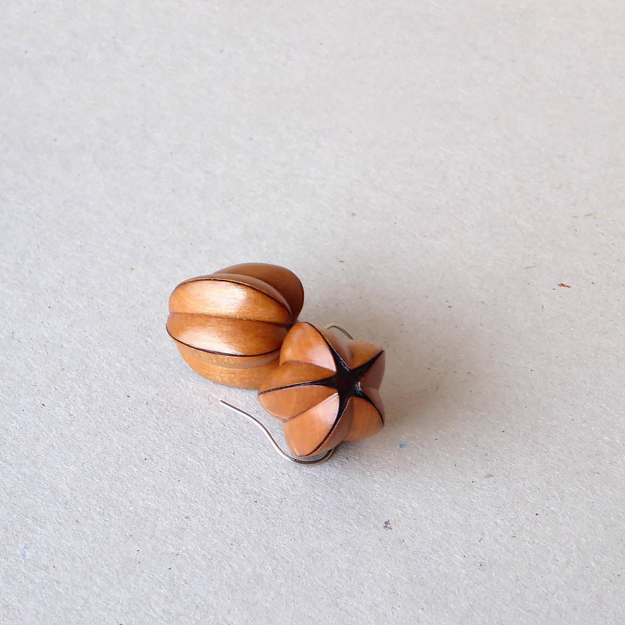 Pučiace - drevené náušnice