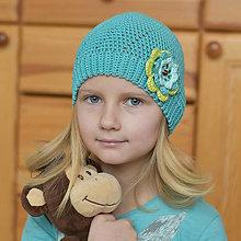 Detské čiapky - Jarná čiapka v tmavom mentole - 7840188_