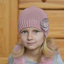 Detské čiapky - Staroružová jarná čiapka - 7840360_