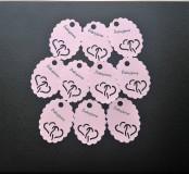 Papiernictvo - Visačky/menovky na darčeky - ružové so srdiečkami a nápisom - 7838473_