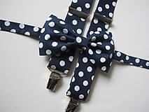 - Pánsky motýlik a traky- modrý set s veľkými bodkami - 7841889_