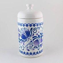 Nádoby - Dóza uzatvárateľná modré kvety 2 - 7840611_