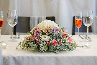 Dekorácie - Aranžmán na mladomanželský stôl - 7838579_