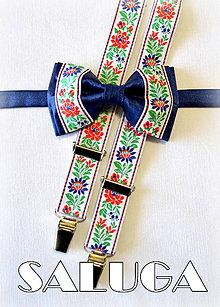 Doplnky - Folklórny pánsky modrý motýlik a traky - folkový - ľudový - 7841268_
