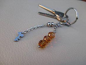Kľúčenky - Dekorácia na kľúčenku, kabelku-Swarovski/chirurgická oceľ - 7841473_