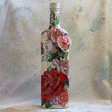Nádoby - Darčeková fľaša Ľubkine ruže - 7842086_