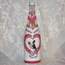 Nádoby - Darčeková fľaša pre mladomanželov Svadobná srdiečková pálenka - 7842154_