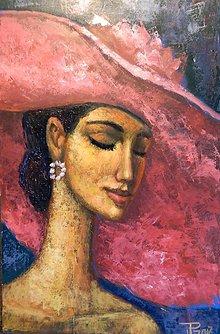 Obrazy - Dáma v červeném klobouku - 7837614_