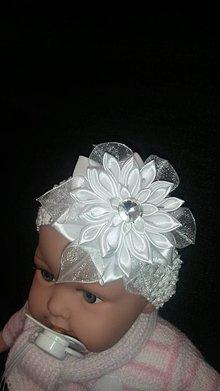 Ozdoby do vlasov - Biela satenova čelenka na krst alebo 1. SV.prijíma - 7841145_
