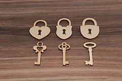- Drevený zámok + klúčik, 3+3 ks - 7841519_
