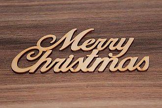 Polotovary - Drevený text - Merry Christmas 15cm - 7841219_