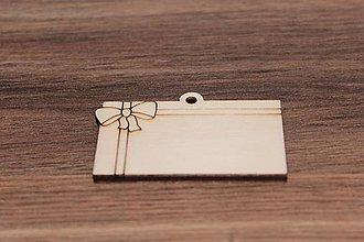 Polotovary - Drevené ozdoby - darčeková kartička 3,5 x 6cm - 7841430_