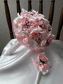 Kytice pre nevestu - Rozkvitnutá ružová - 7838396_