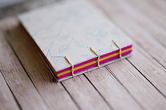 Papiernictvo - Ručne šitý zápisník - ruže - 7845668_