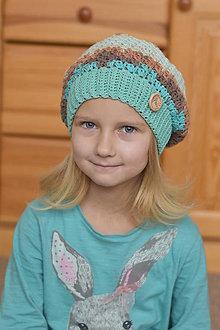 Detské čiapky - Tyrkysovo-hnedá baretka - 7845071_