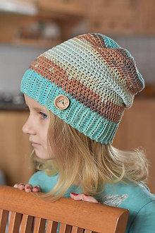 Detské čiapky - Tyrkysovo-hnedá čiapka - 7845142_