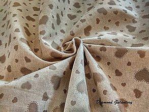 Textil - Bavlna režná - srdiečka hnedé - cena za 10 cm - 7845572_