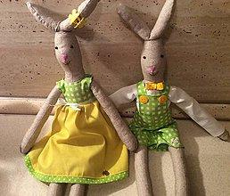 Dekorácie - jarné zajačiky párik - 7846065_