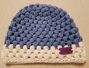 Detské čiapky - Modrobiela čiapočka - 7844898_