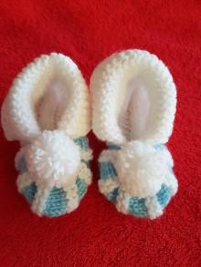 Topánočky - Modrobiele papučky - 7844928_
