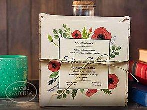 Papiernictvo - Vyrezávané svadobné oznámenie vo folkovom štýle s divými makmi MY ROMANCE - 7845081_
