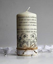 Svietidlá a sviečky - Dekoračná sviečka - výročie sobáša - 7844356_