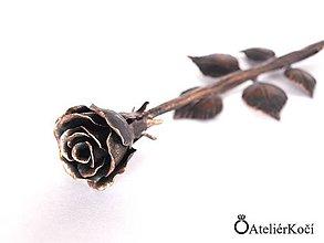Dekorácie - Kovaná růžička - měděná patina - 7842977_