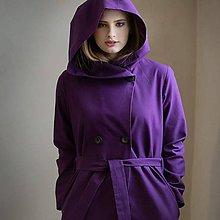 Kabáty - Fialový kabát s kapucí - 7843488_