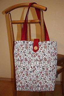 Nákupné tašky - Taška pro velké slečny, paní- Vínové kytičky - 7844029_