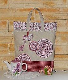 Nákupné tašky - Ekotaška - bordové kruhy - 7843046_