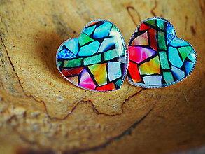 Náušnice - Veľké napichovacie srdiečka s farebným kamienkovým vzorom - 7844153_