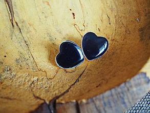 Náušnice - Veľké napichovacie čierne srdiečka - 7844161_