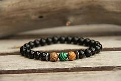 Šperky - Pánsky náramok onyx, jaspis a malachit - 7844310_