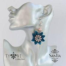 Náušnice - Náušnice obojstranné s visiacimi kvetmi (Tyrkysovo-ružové) - 7844064_