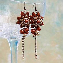 Náušnice - Náušnice so strapcami perál (Oranžovo-béžové) - 7844142_