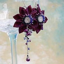 Náušnice - Náušnice so strapcami perál (Fialovo-modro-biele) - 7844179_