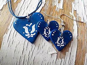 Sady šperkov - FOLK maľovaná sada - modrá - 7846165_