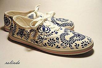 Obuv - Bílomodré folklórní tenisky - 7848329_